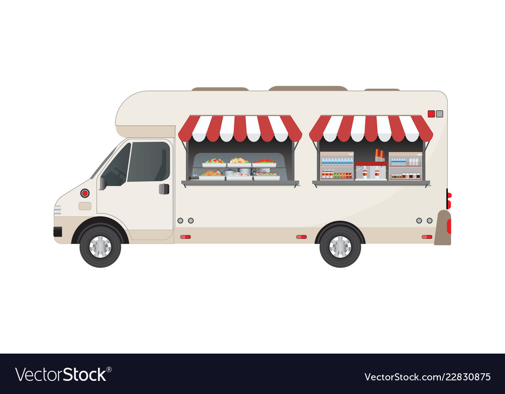 Food truck side view with food and drink