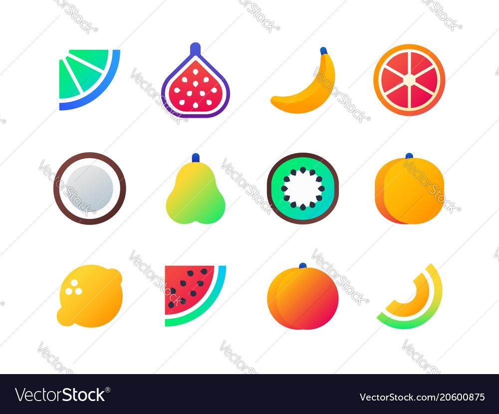 Fruits - set of flat design style icons