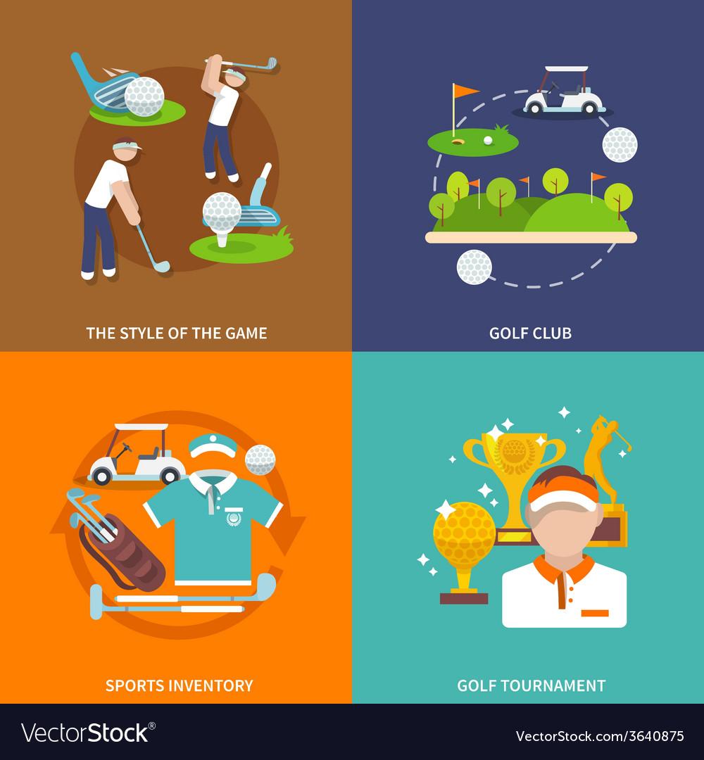 Golf flat set vector image