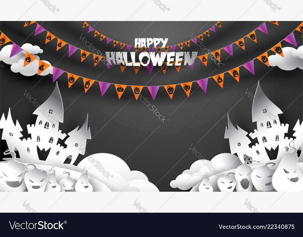 Halloween background with pumpkin haunted house