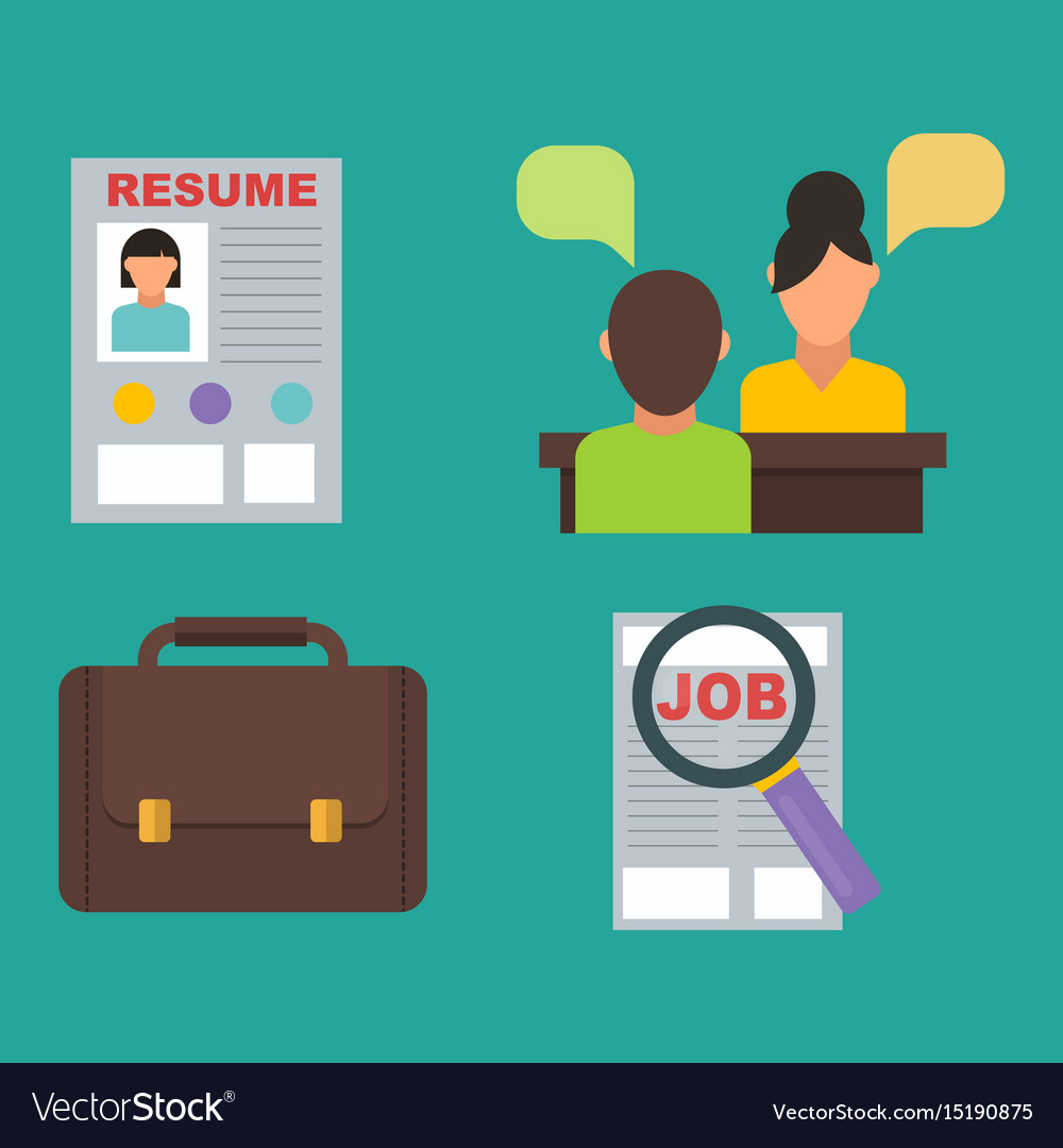Job search icon set computer office concept