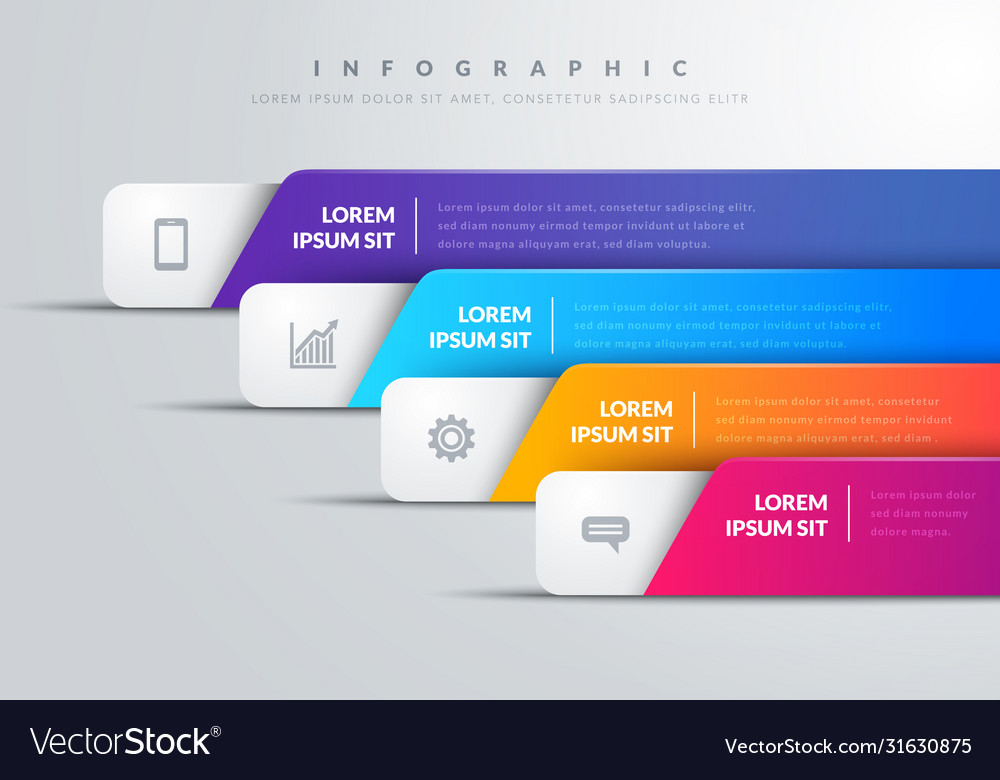 Modern infographic with 4 colorful bars and icons