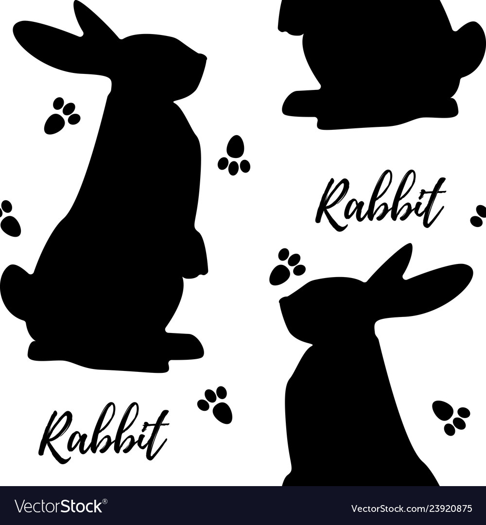 Seamless monochrome pattern with rabbits