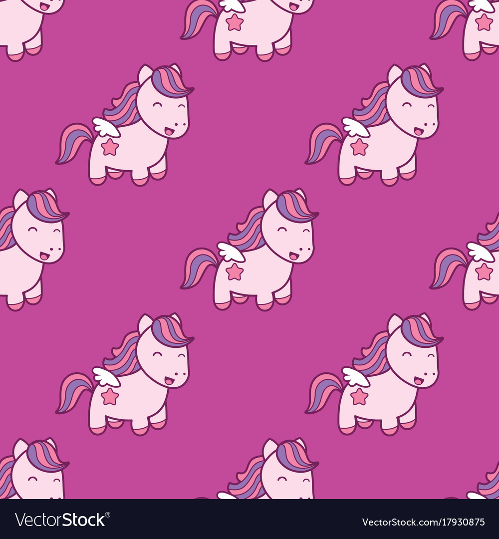 Seamless pattern with pegasus in kawaii japanese