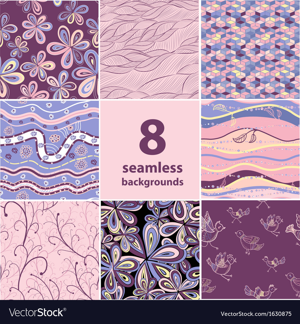 Set of 8 seamless backgrounds vector image