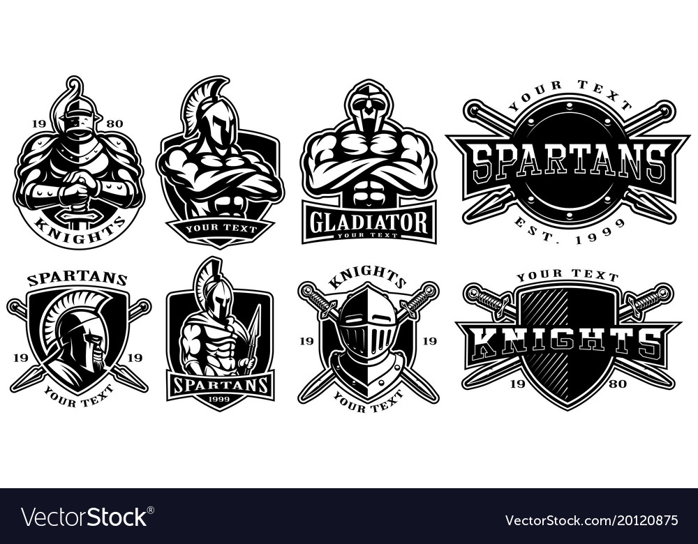 Set of badges with ancient warriors for white vector image
