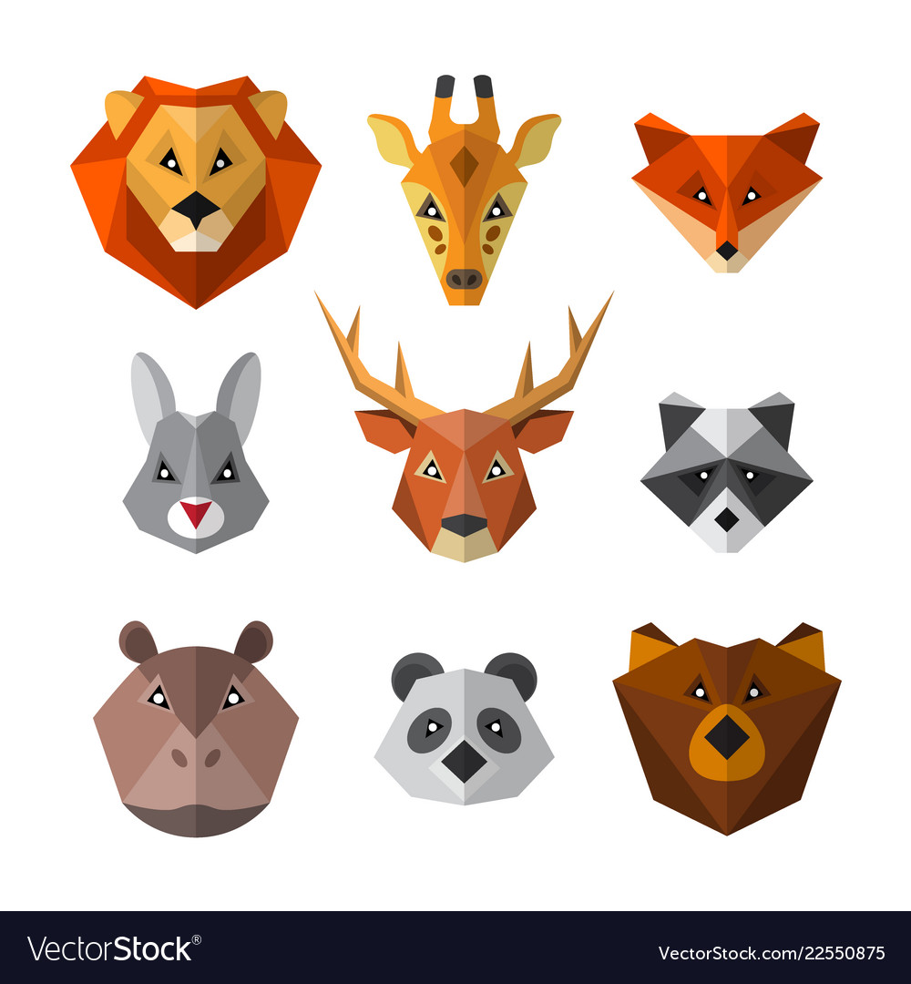 Set of wild animals in low poly style animal icon