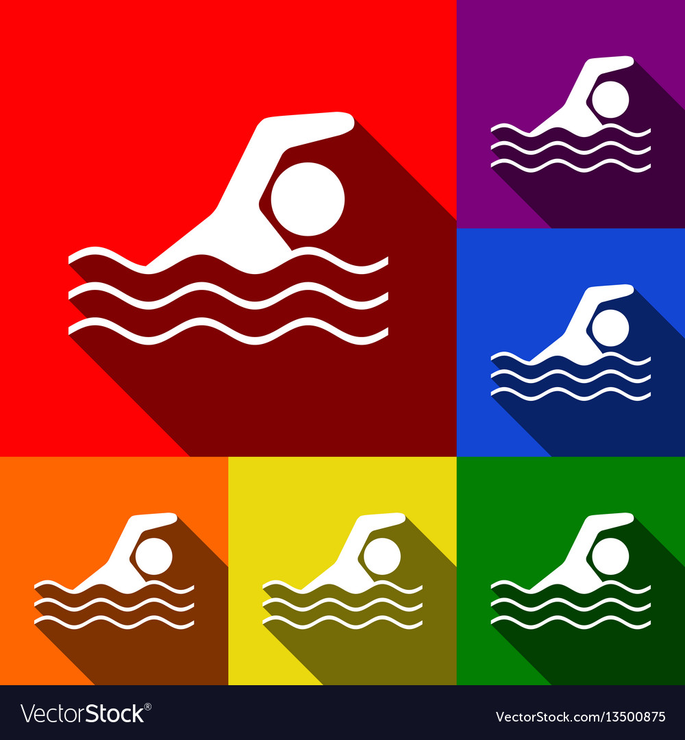 Swimming water sport sign set of icons