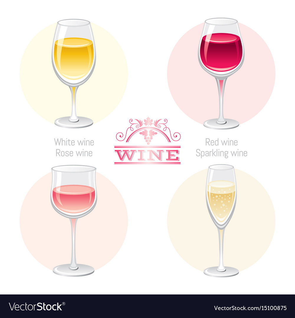 c2ff206a20ed Wine alcohol drink glasses types icon set - red Vector Image