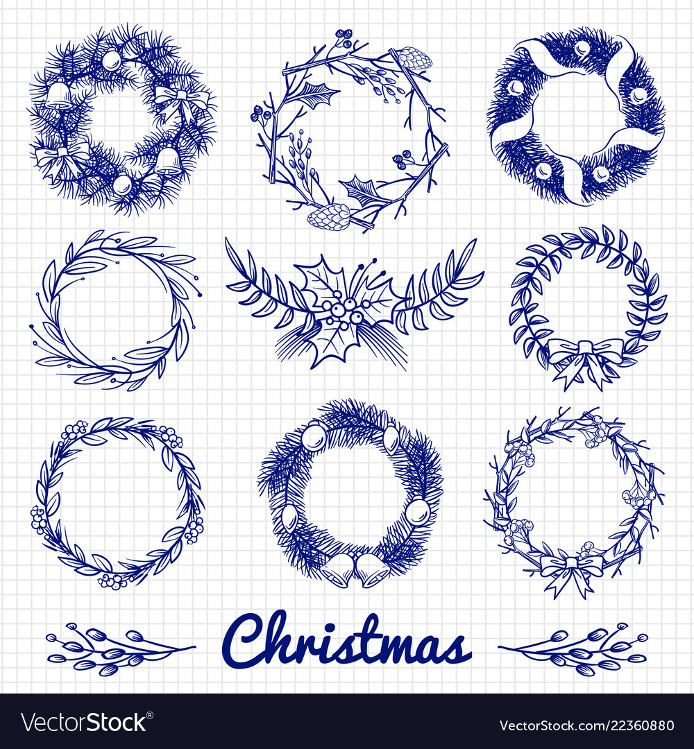 Ballpoint pen drawing christmas doodle wreath and