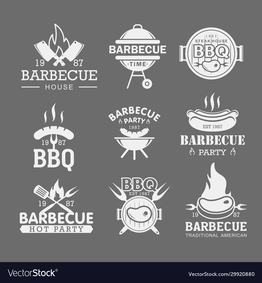 Bbq white logo templates set steak house grilled vector