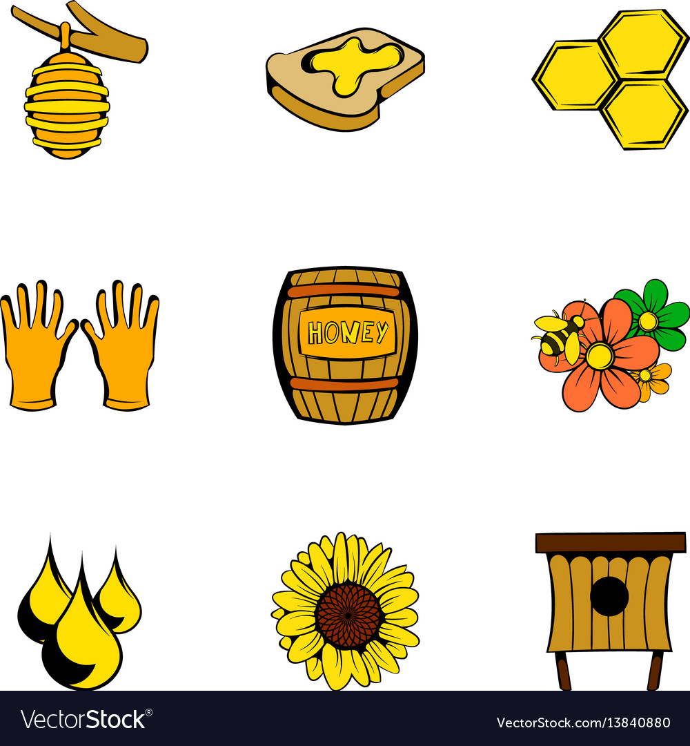 Bee garden icons set cartoon style