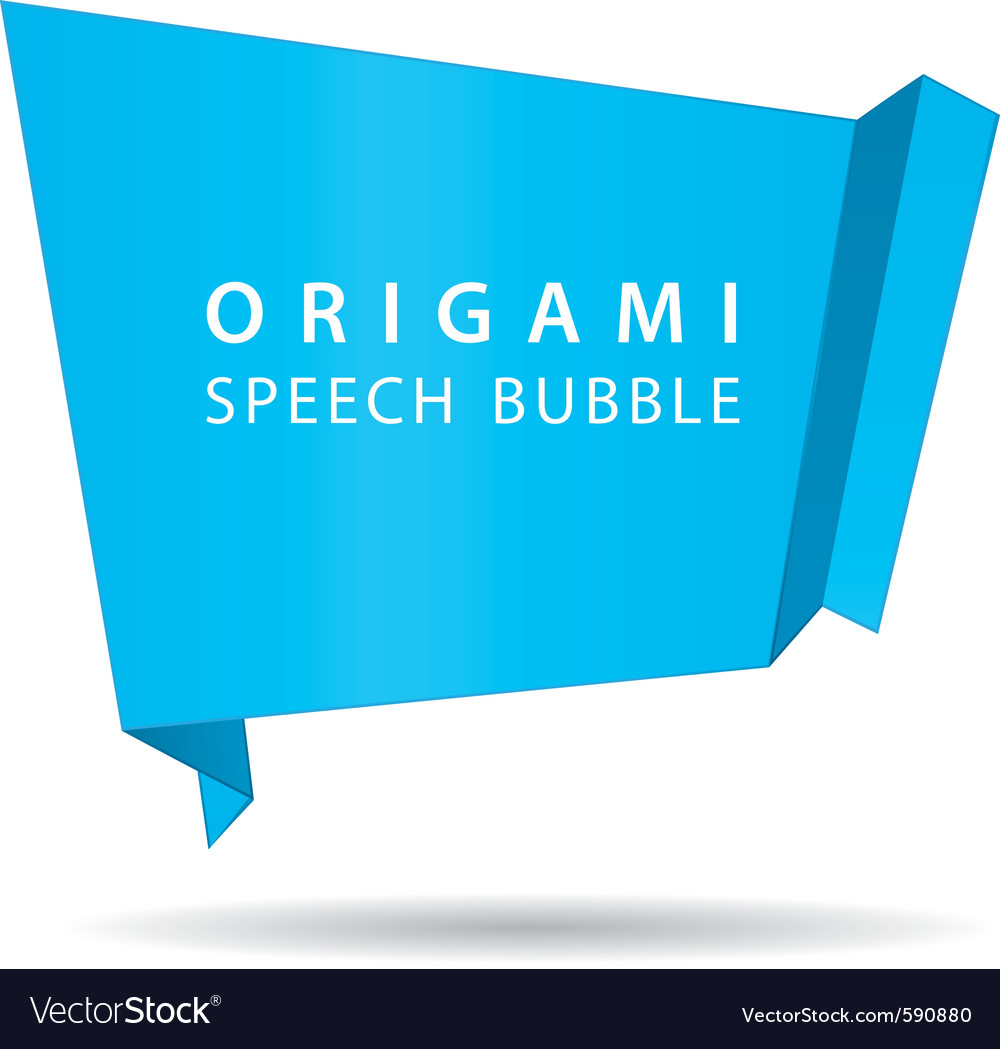 Blue origami speech bubble