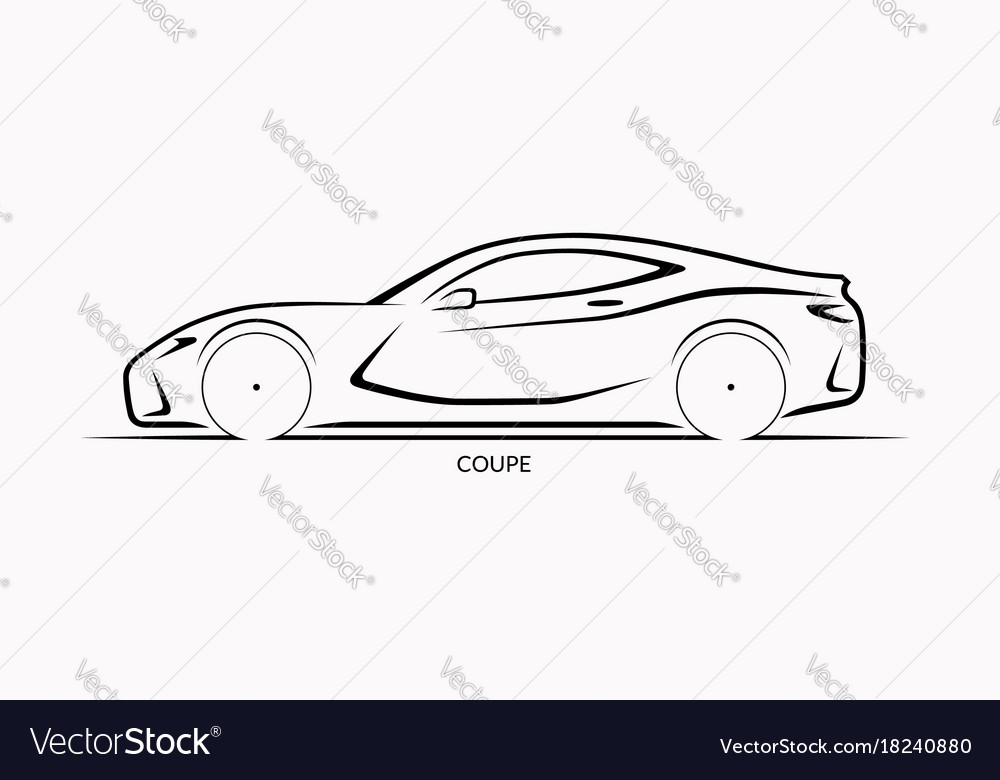 Car silhouette side view of sports coupe