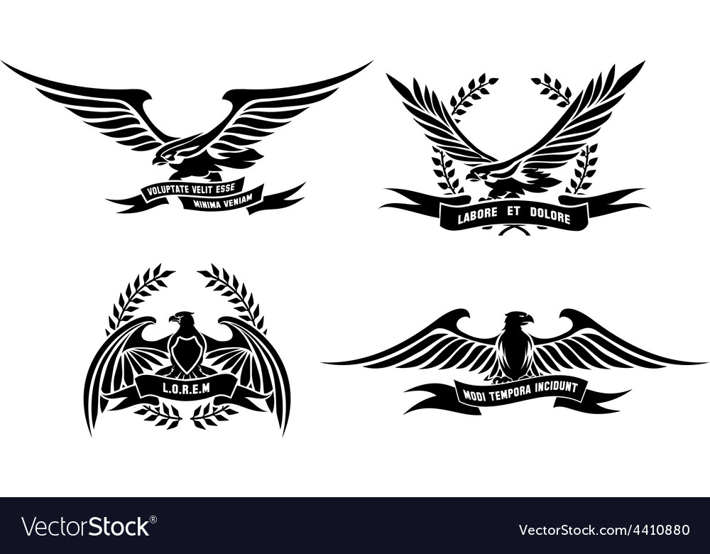 Eagle heraldic labels with laurel wreaths shields