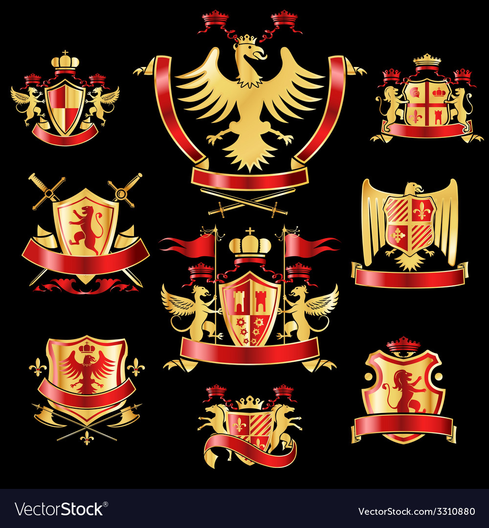 Heraldic labels gold red vector image