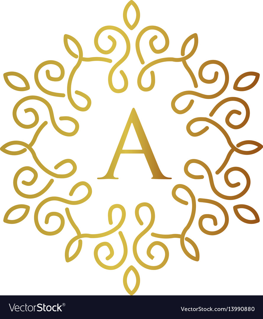 letter a with elegant gold frame design royalty free vector