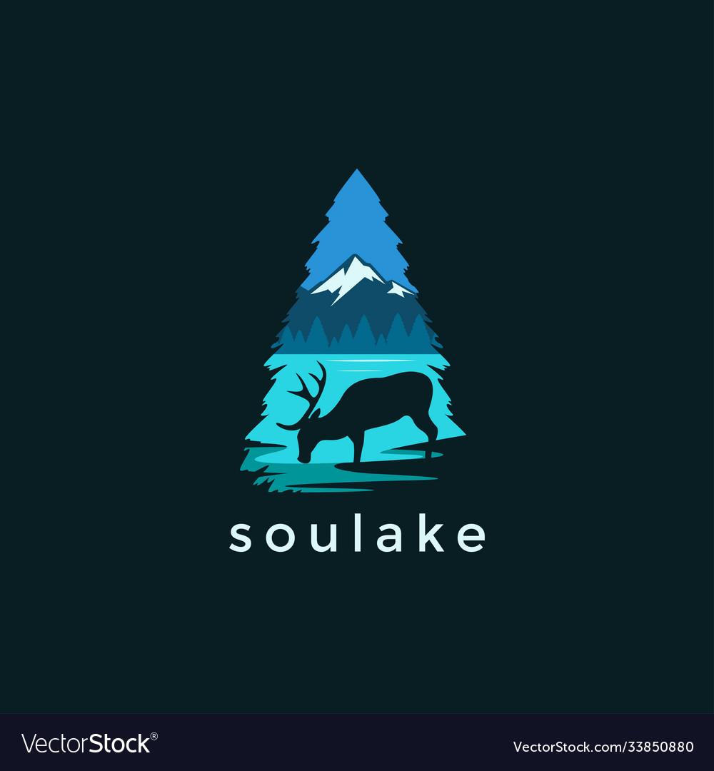 Modern deer and lake landscape logo
