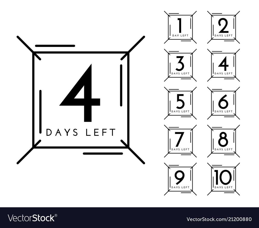 Number days left badge in line style
