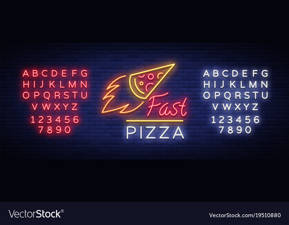 Pizza neon sign pizzeria neon logo emblem