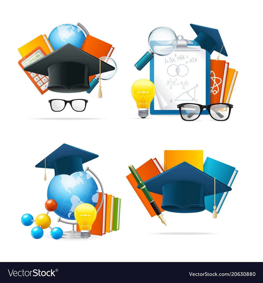 Realistic detailed 3d education set