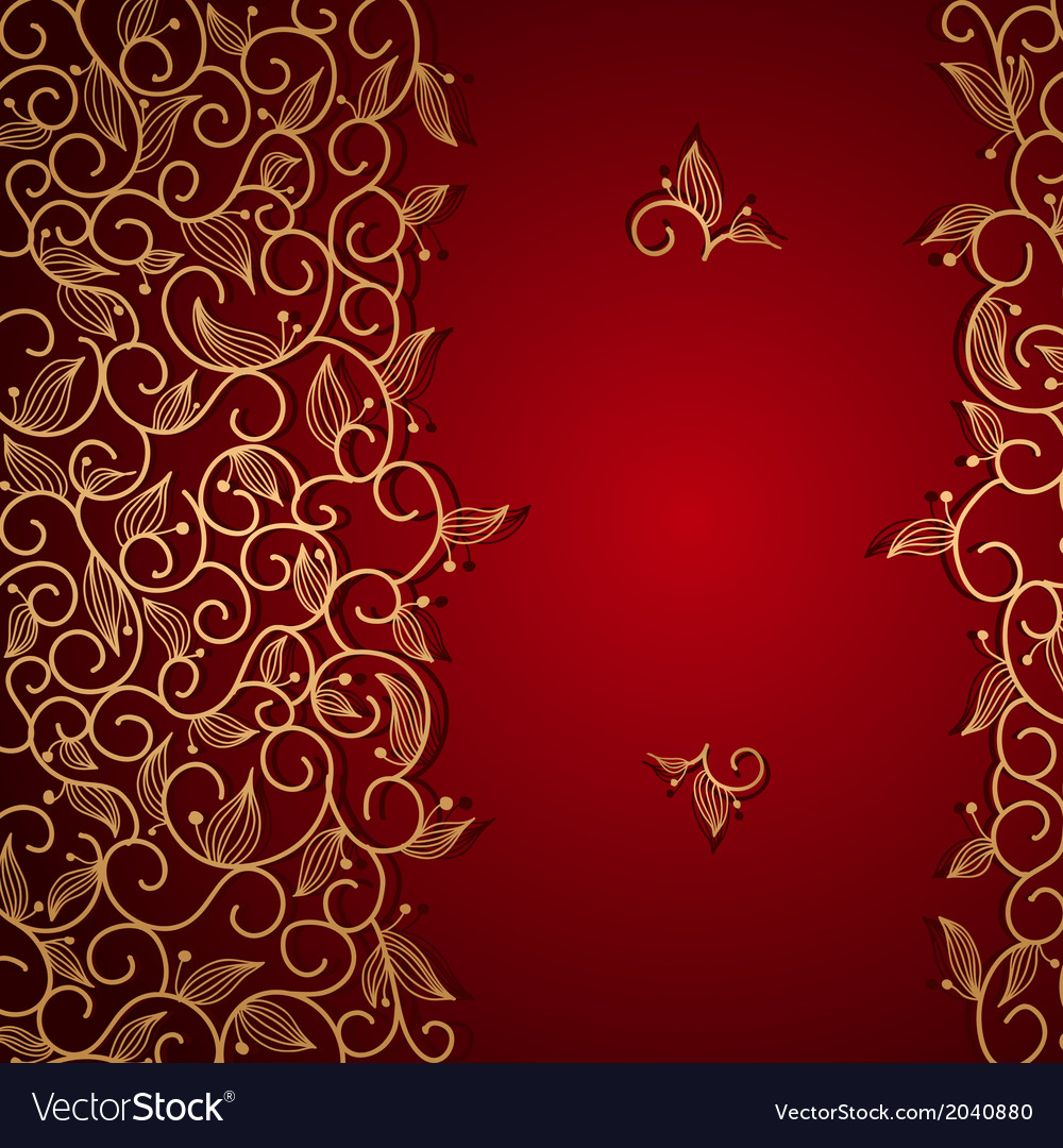 Red invitation with gold lace floral ornament