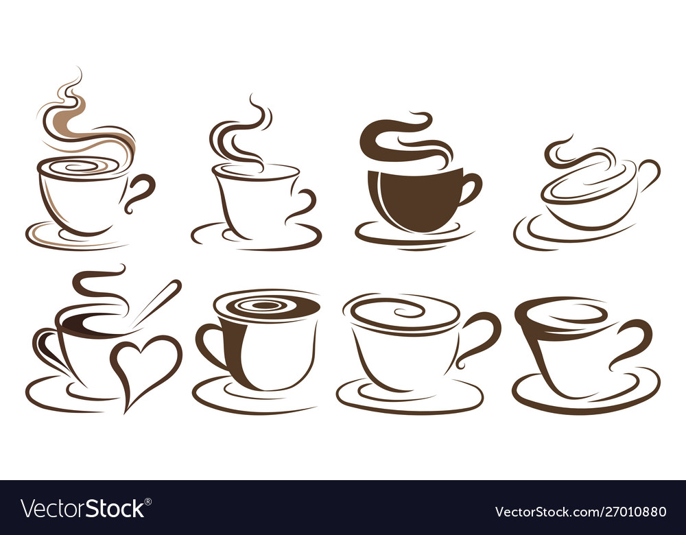Set cups coffee collection stylized