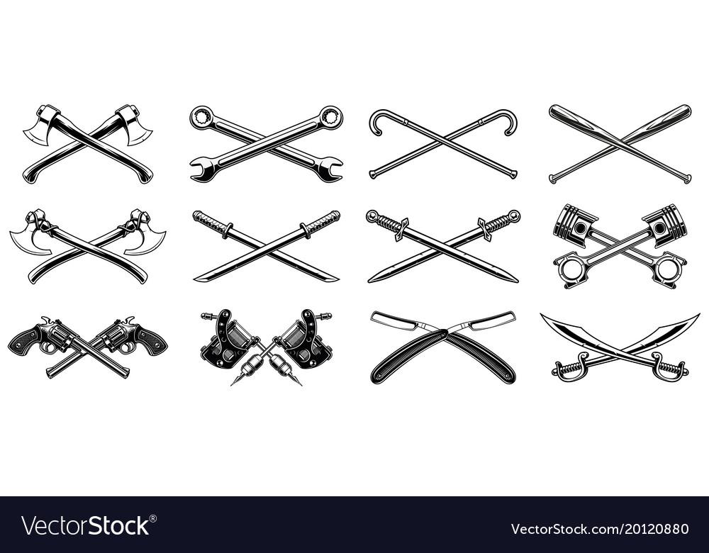 Set different crossed design elements
