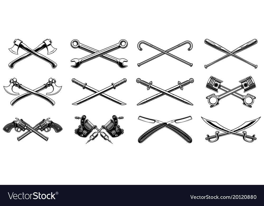Set of different crossed design elements
