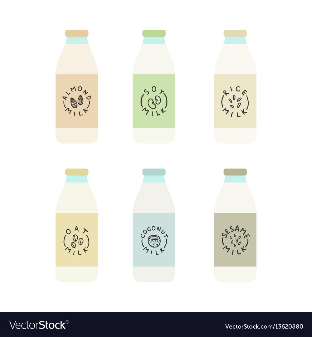 Set of plant based milk bottles