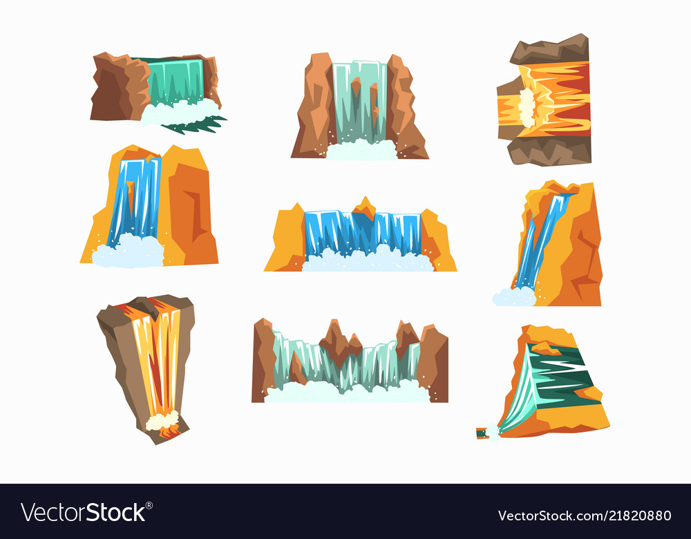 Waterfalls set cascading streams of various shape
