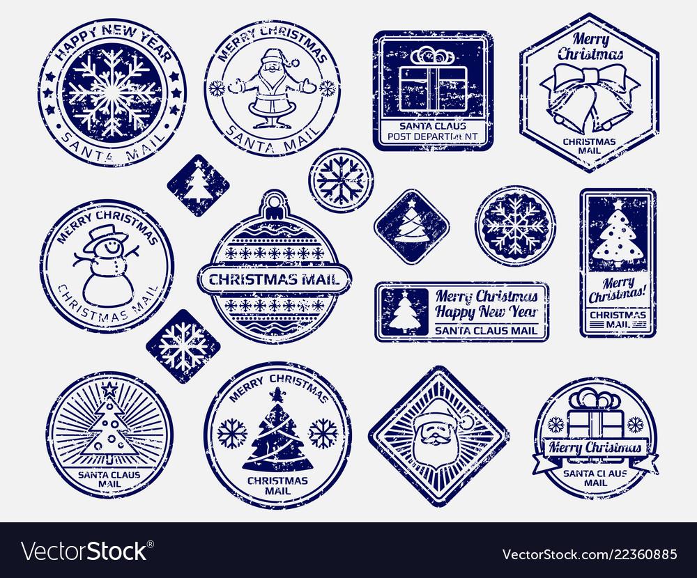 Ballpoint pen santa mail stamps set