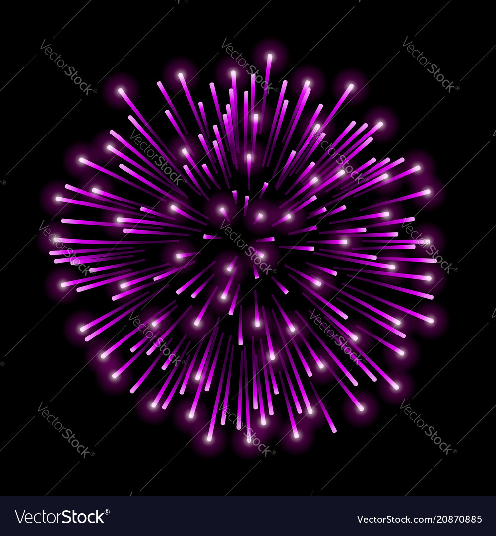 Beautiful pink firework bright salute isolated on