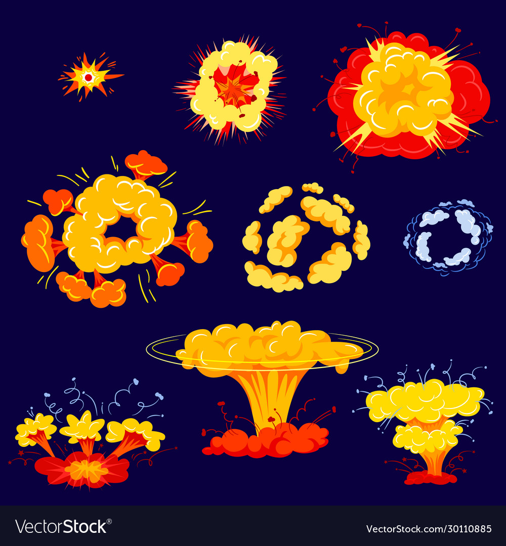 Bomb explosion isolated icons set dynamite danger