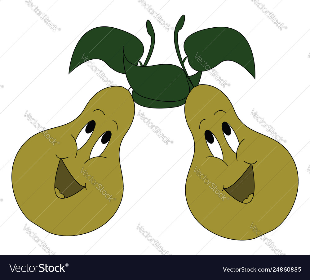 Cartoon two singing green pears with green