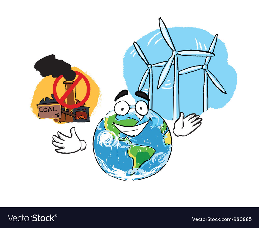 Coal plant and windmill vector image