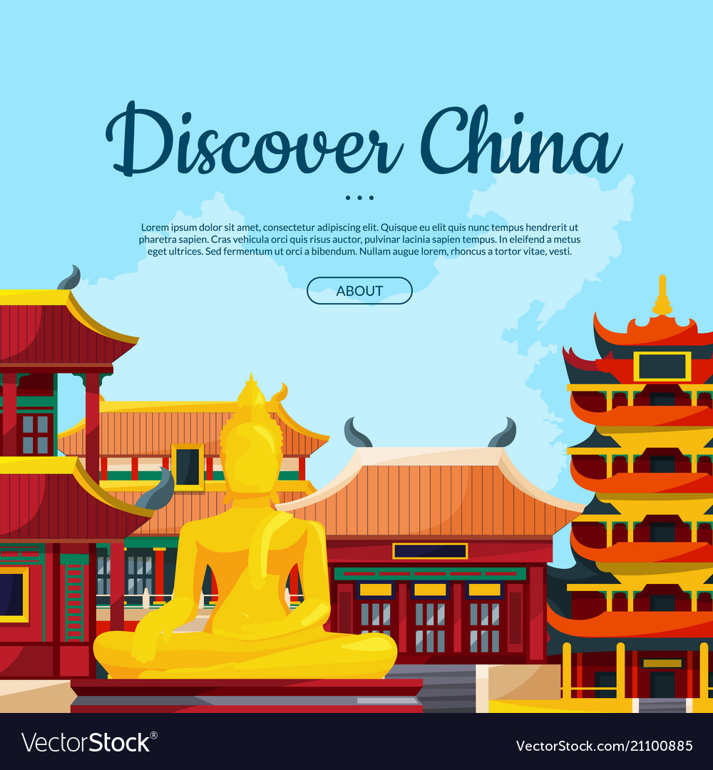 Flat style china sights background