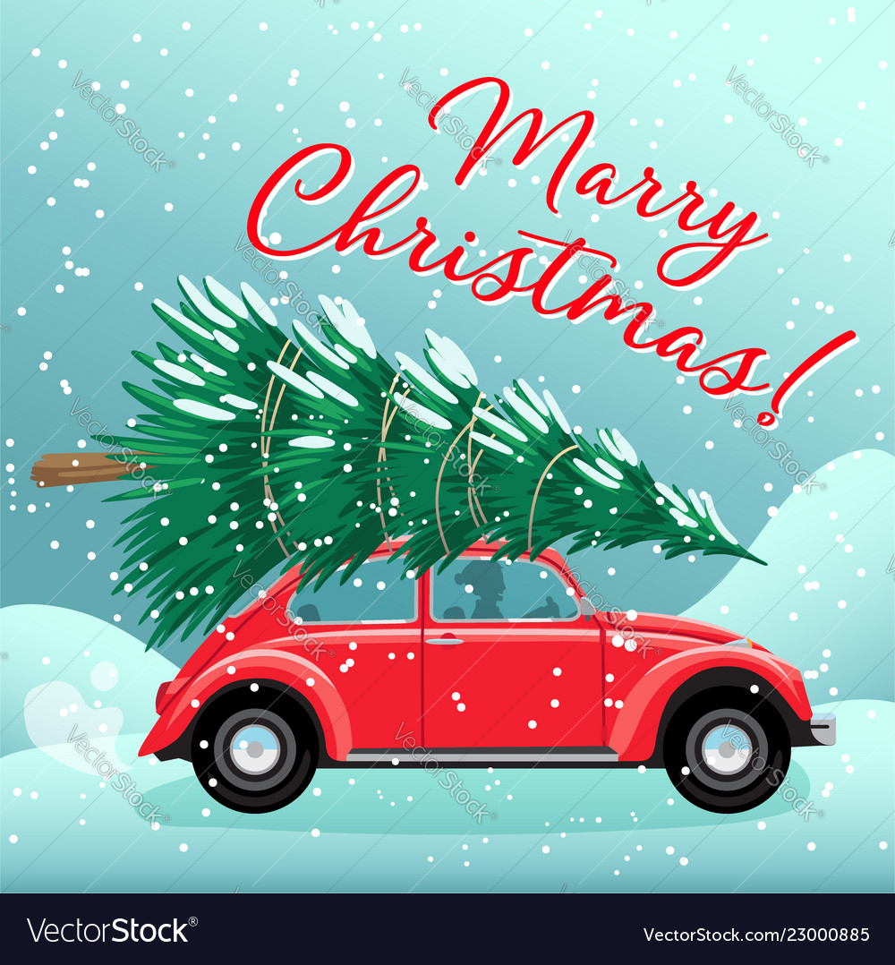 Merry christmas and happy new year postcard or