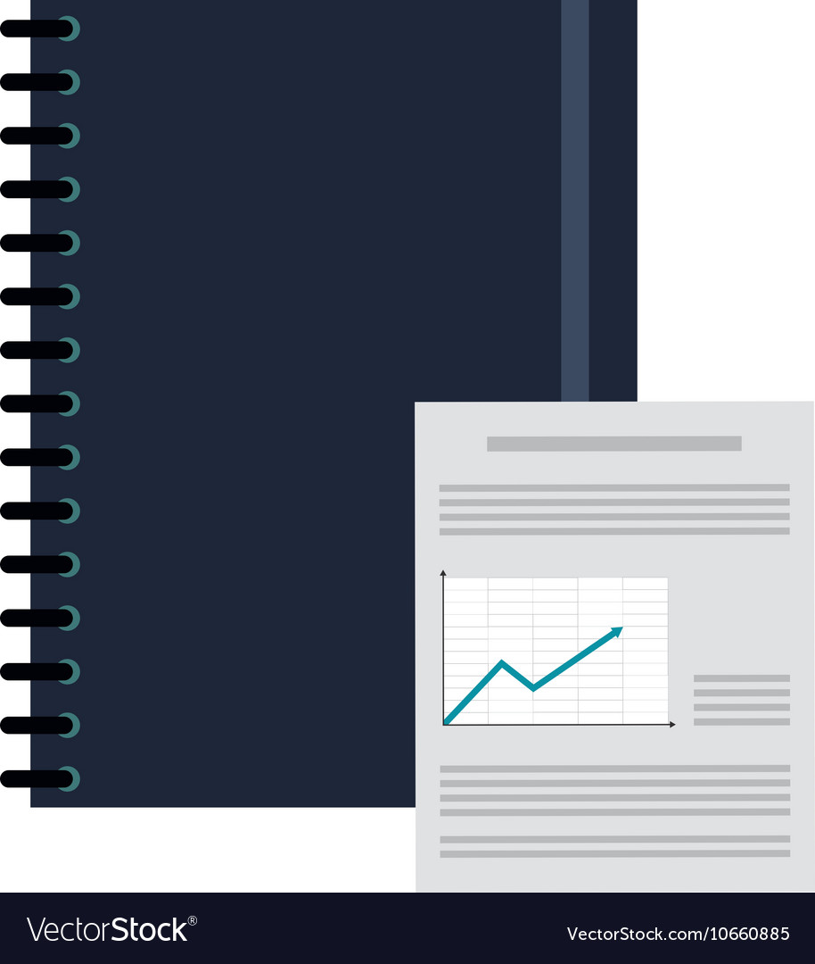 Notebook And Graph Chart Icon Royalty Free Vector Image Ballpoint Diagram Notepad Stock Photos