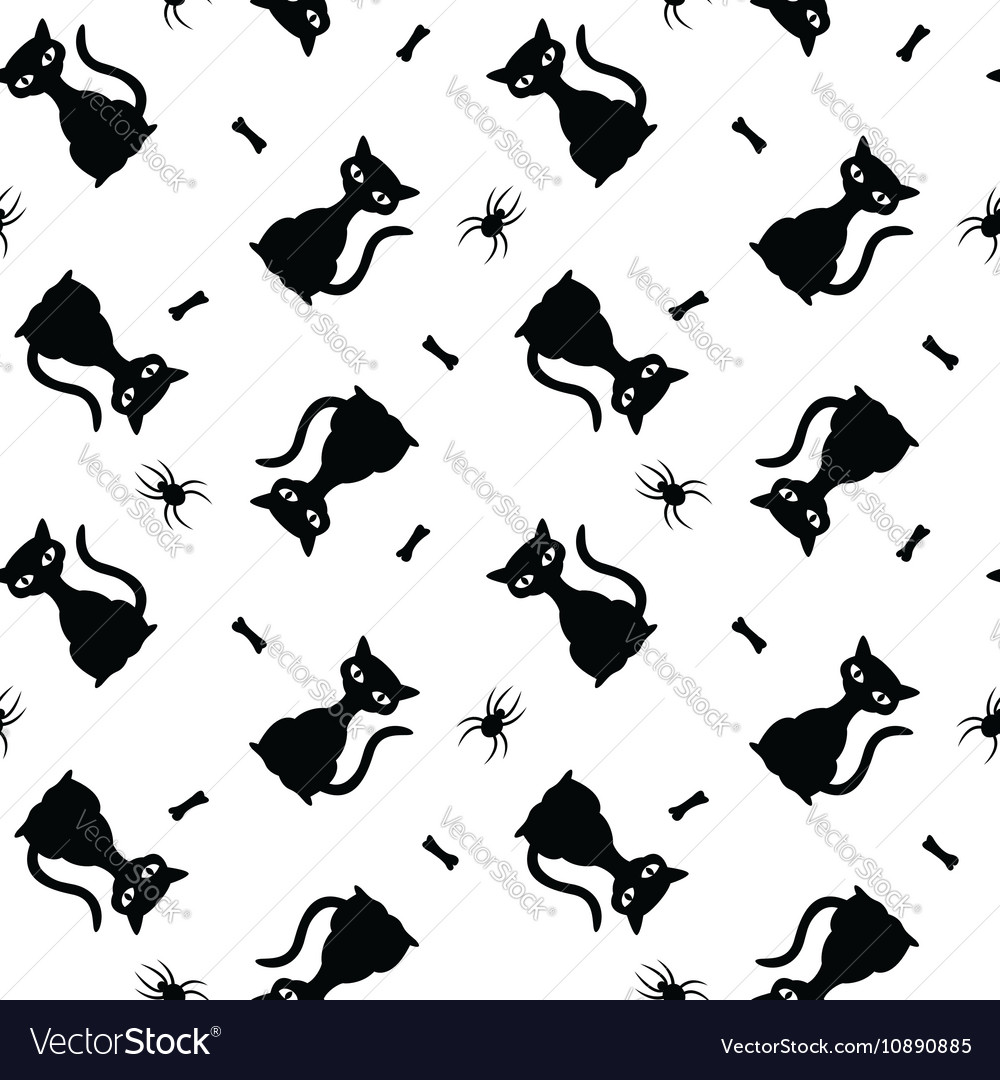 Seamless halloween pattern with black cats spiders
