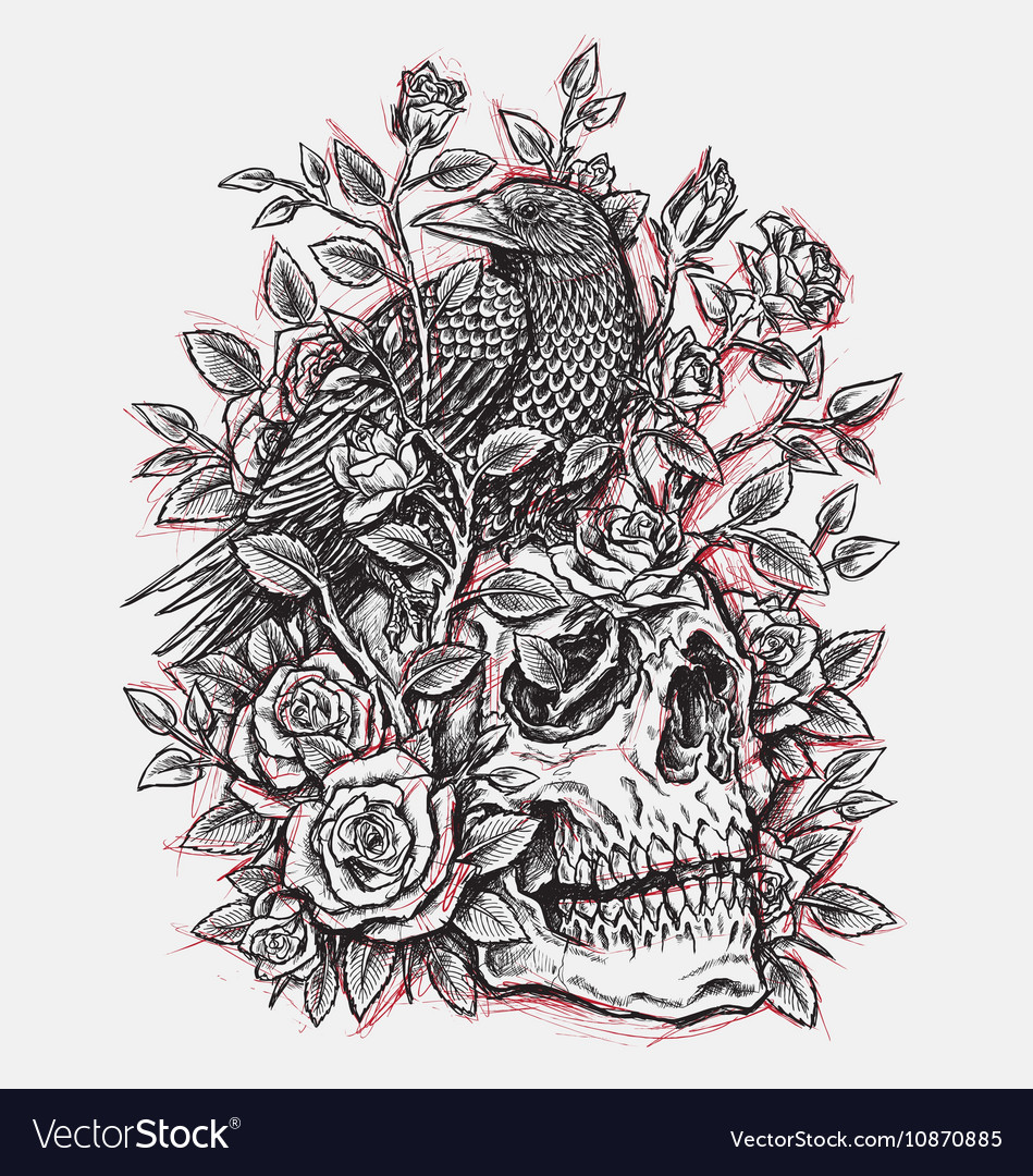 Sketchy Crow Roses and Skull Tattoo Design Linewo
