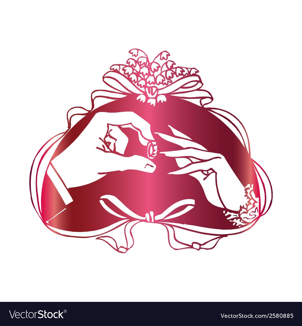 Two Hands Marriage Proposal With Ring vector image