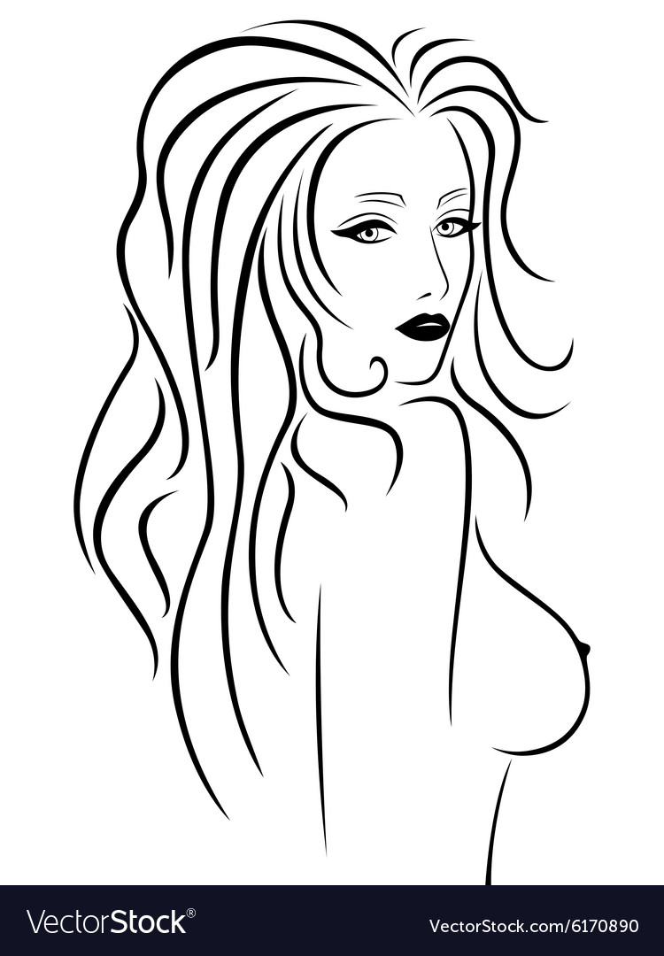 Abstract beautiful woman with a naked breast vector image