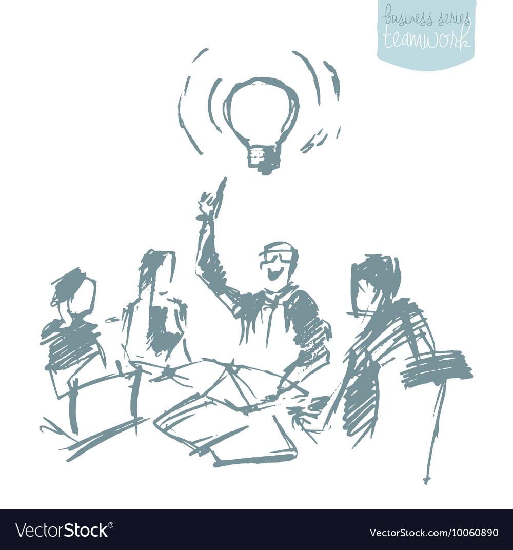 Business people meeting teamwork sketch