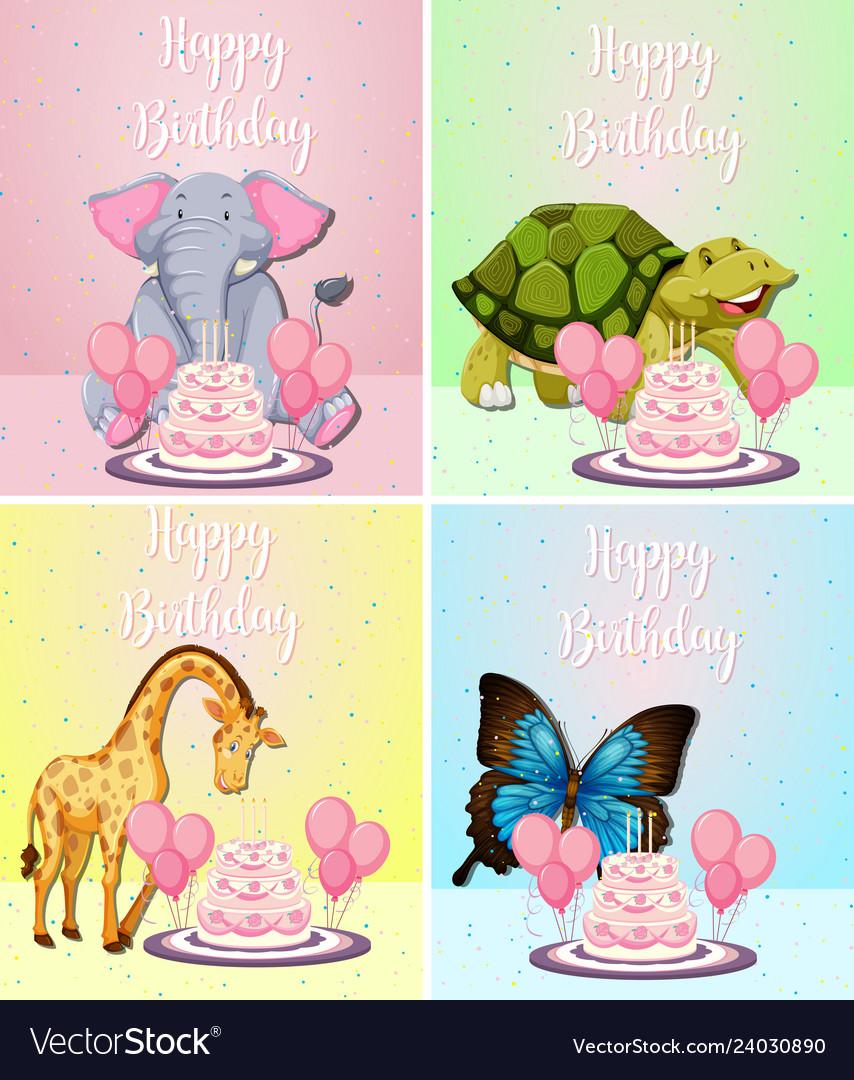 Cute animal on birthday card