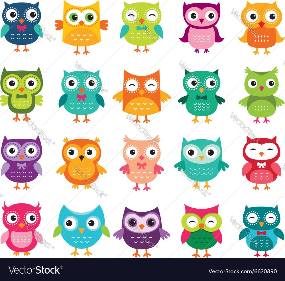 Cute cartoon owls collection vector image
