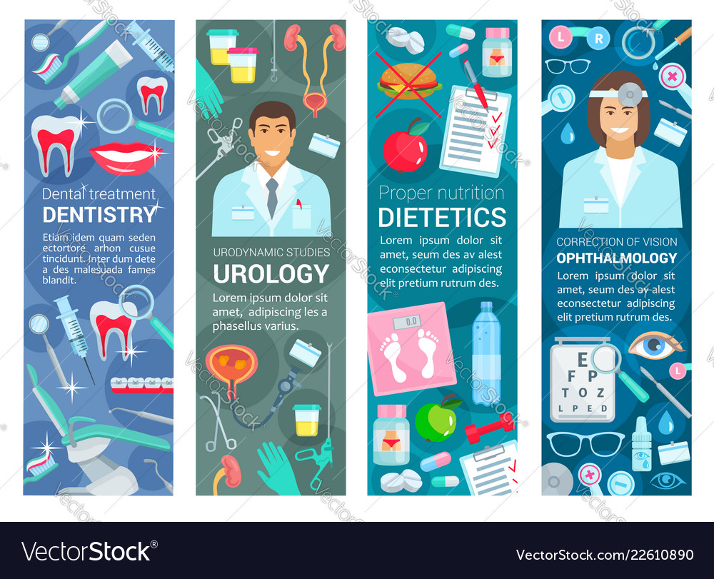 Dentistry urology and dietetics health banners