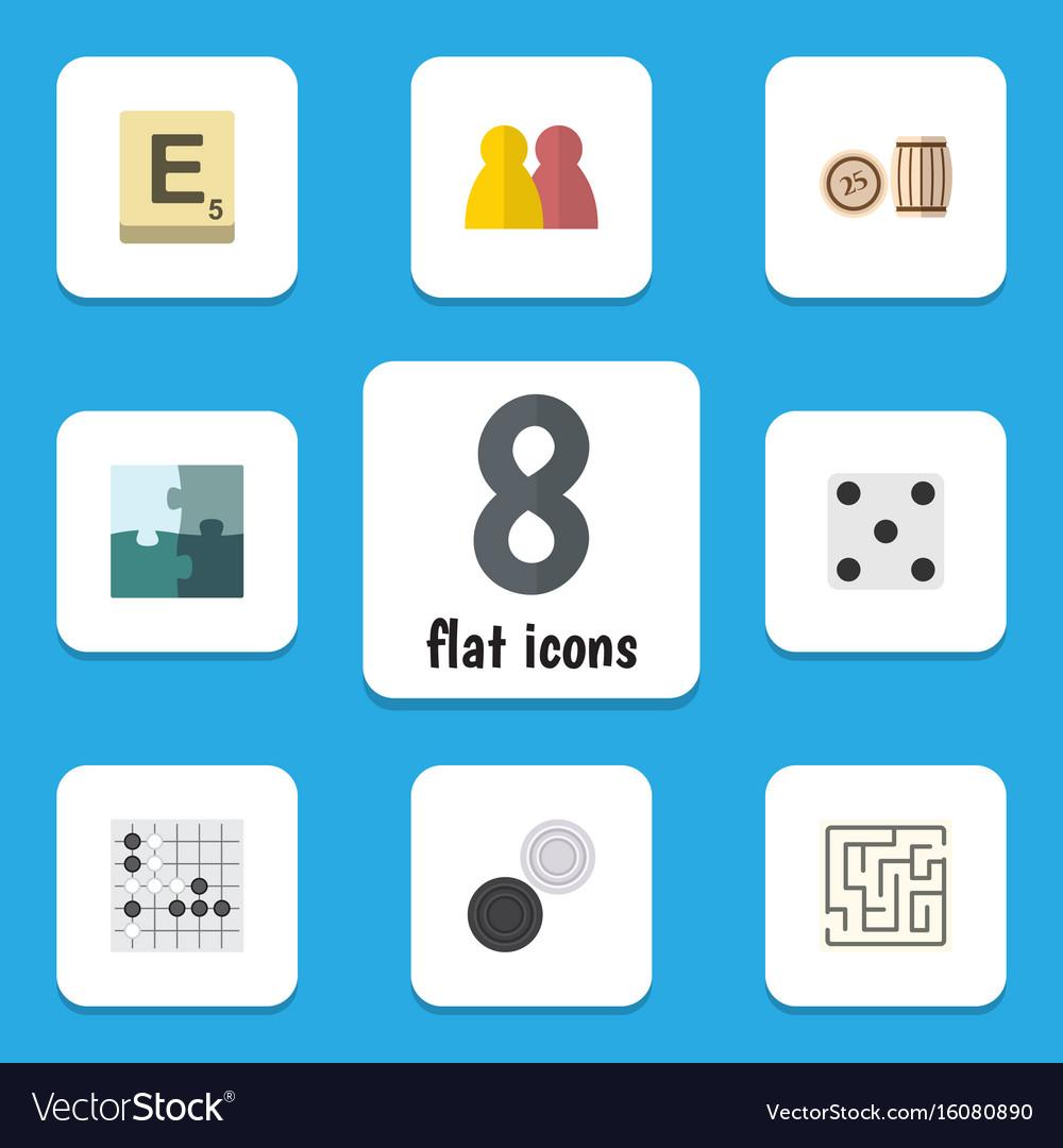 Flat icon games set of jigsaw people mahjong and vector image