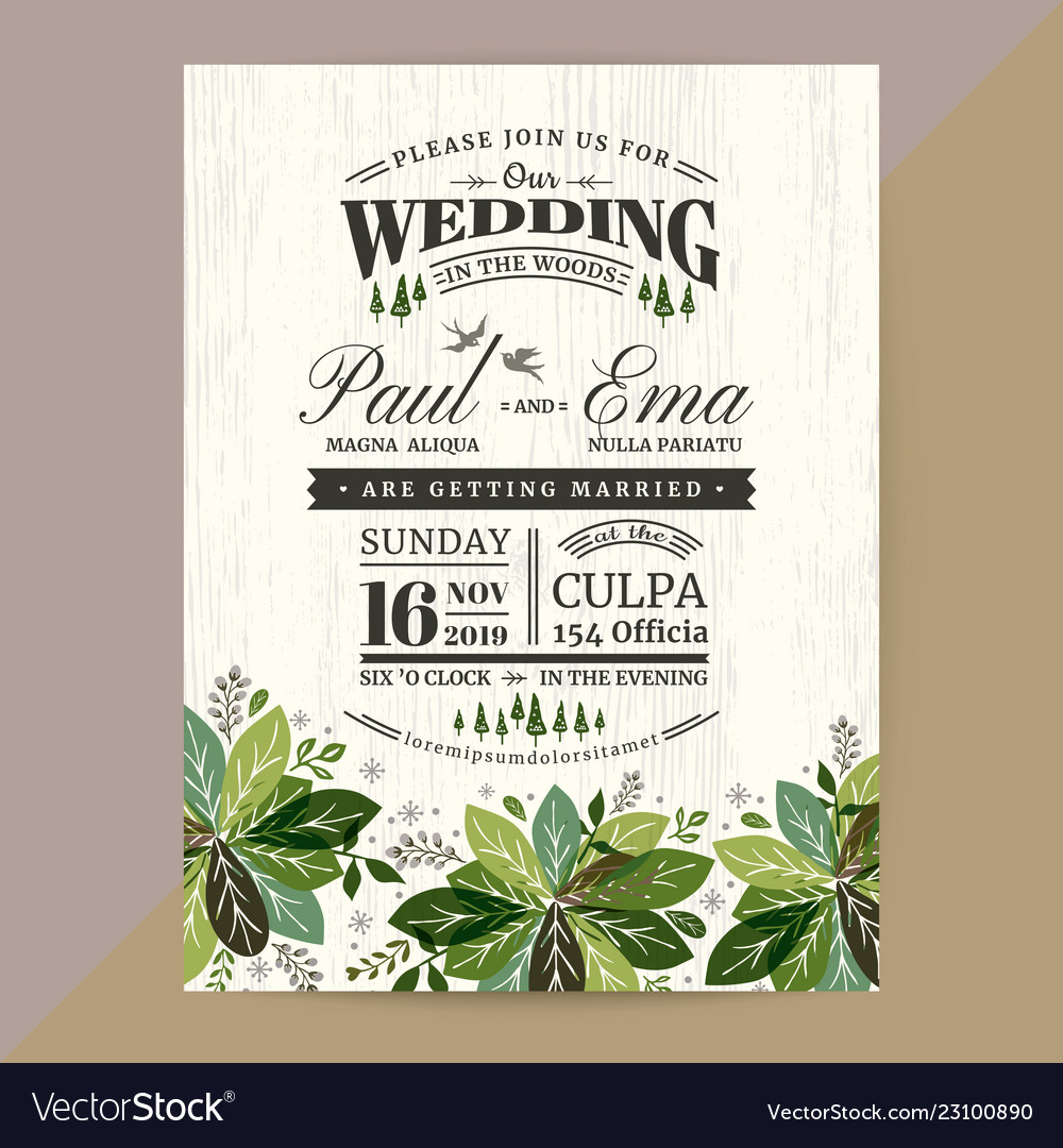 Floral Wedding Invitation Card With Green Leaves