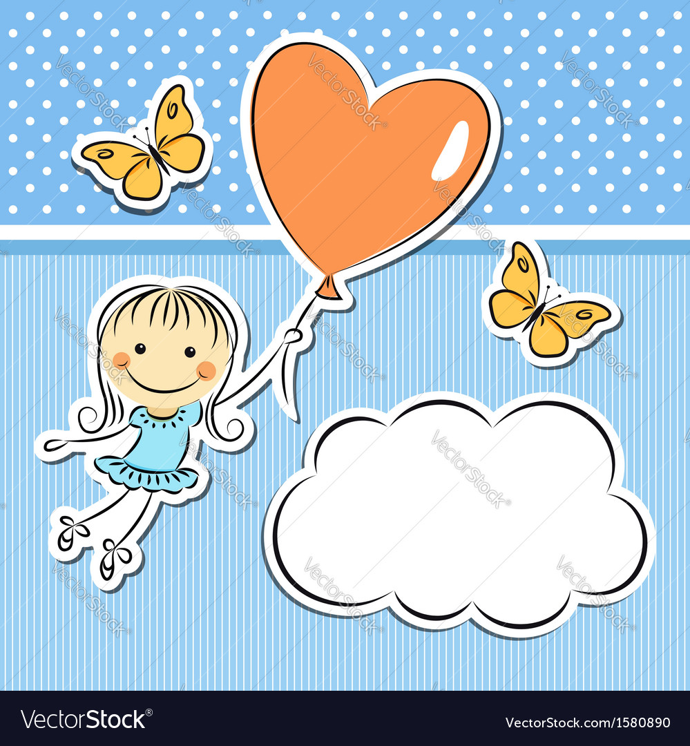 Happy girl with heart balloon